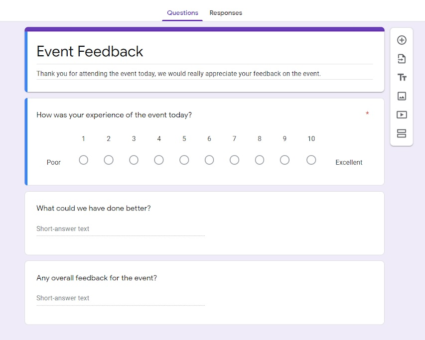 Example generic event feedback form.